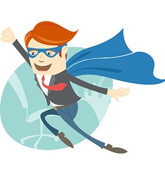 Office superman flying in front of his working vector image vector image