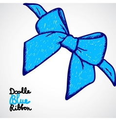 Blue bow Doodle vector image vector image
