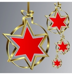 Christmas balls with red star vector image vector image