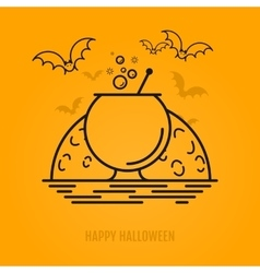 Halloween conceptc with bats moon coffin and vector image vector image