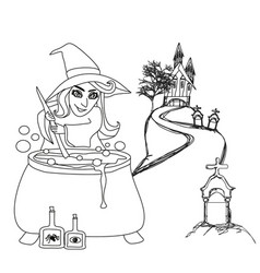 Halloween witch preparing potion - doodle vector