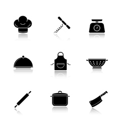 Kitchen tools drop shadow icons set vector image