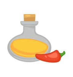 Oil in glass bottle near red long pepper on white vector