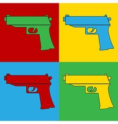 Pop art gun icons vector image