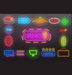 set of neon sign light at night transparen vector image
