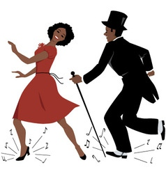 Black tap dance performers vector image