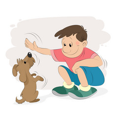 boy playing with a dog vector image vector image