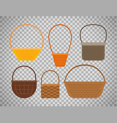 empty baskets on transparent background vector image