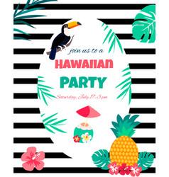 hawaiian bright invitation pineappletoucan text vector image