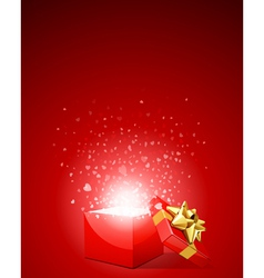 open gift with flying hearts confetti vector image