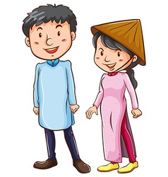 People wearing the Asian costume vector image vector image