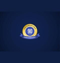 90 years anniversary celebrating blue logo vector