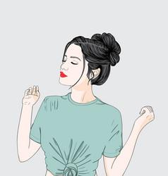 a woman wearing a green shirt vector image