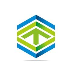 abstract arrow letter line hexagon design logo vector image