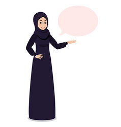 Arab muslim girl in hijab veil points at something vector