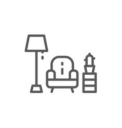 Armchair with lamp line icon vector