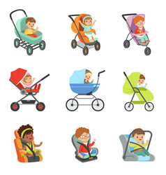 Baby carriage set children transport colorful vector