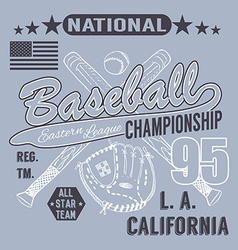 Baseball sport typography Eastern league los vector image