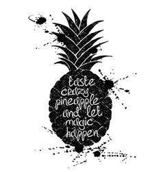 Black and white of black pineapple fruit vector image