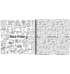 Black friday household appliances set and seamless vector