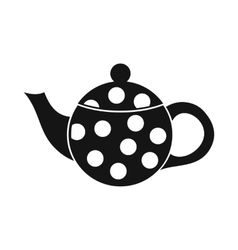 Black spotty teapot icon simple style vector