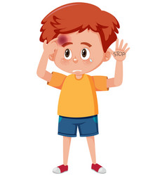 boy with bruises and word stop on his hand vector image