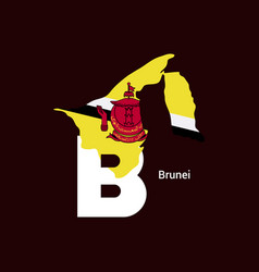 Brunei initial letter country with map and flag vector