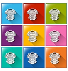 Buttons with stripe-coloured shirts vector