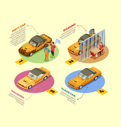 Car wash 4 isometric infographic icons vector