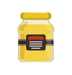 Cartoon glass jar with natural honey bank with vector