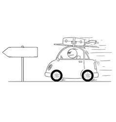 cartoon of unhappy or angry man going back or vector image