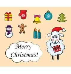 cartoon set christmas icons vector image