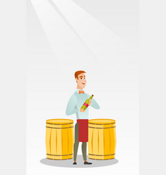 Caucasian waiter holding a bottle of wine vector