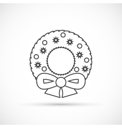 Christmas wreath thin line icon vector image