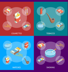 cigarettes accessories smokers signs 3d banner set vector image