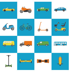 Collection of transport icons in flat style vector