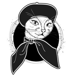 Color set of elegant cat woman face vector