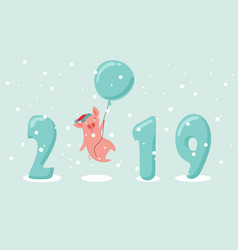 Creative banner for new 2019 year with cute pig vector