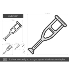 Crutch line icon vector