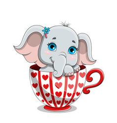 Cute adorable baby elephant vector