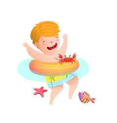 Cute boy kid swimming with inflatable ring with vector