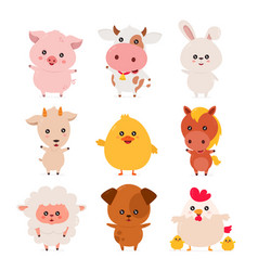 Cute funny smiling happy farm animals set vector
