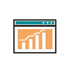 data analysis web development icon line and fill vector image