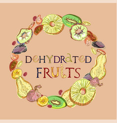 Dehydrated fruits with lettering vector