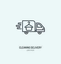 delivery line icon fast dry cleaning courier logo vector image