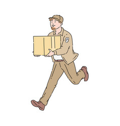 Delivery man or running courier with package vector