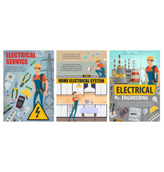 Electricity engineering plant electrical services vector