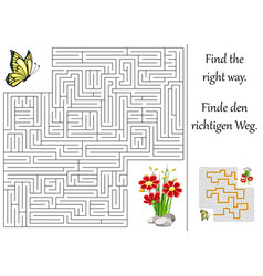 Enducation maze or labyrinth for children with vector