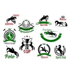 Equestrian or horse racing sport icons vector