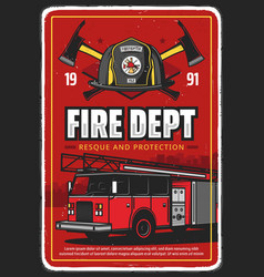 Fire department or brigade poster with fire truck vector